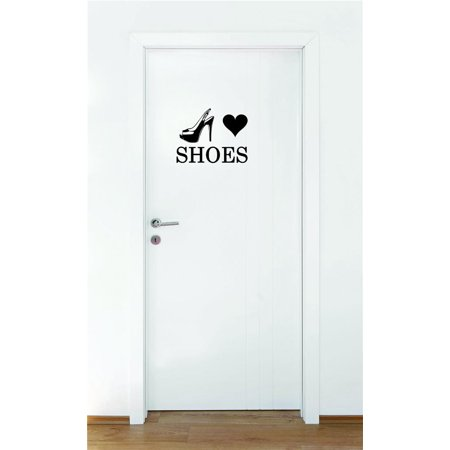 Custom Wall Decal Sticker Heart Shoes Teen Girls Fashion Wardrobe Bedroom Closet Quote Home Decor 16 x 16""