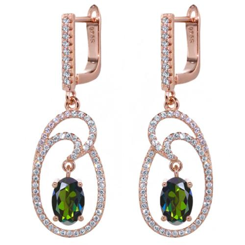 3.04 Ct Tourmaline Green Mystic Topaz 18K Rose Gold Plated Silver Earrings