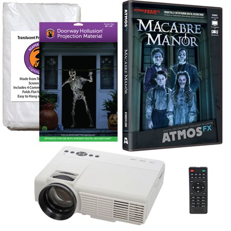 Halloween Projector Kit for Windows, Doors & Walls with Macabre Manor AtmosFEARFx DVD + 2 Screens + Projector](Art Projects For Halloween)