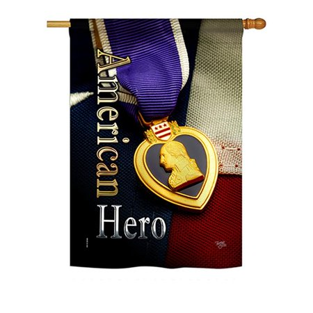 Breeze Decor BD-MI-H-108407-IP-BO-D-US19-BD 28 x 40 in. Purpel Heart Hero Americana Military Impressions Decorative Vertical Double Sided House Flag - image 1 of 1