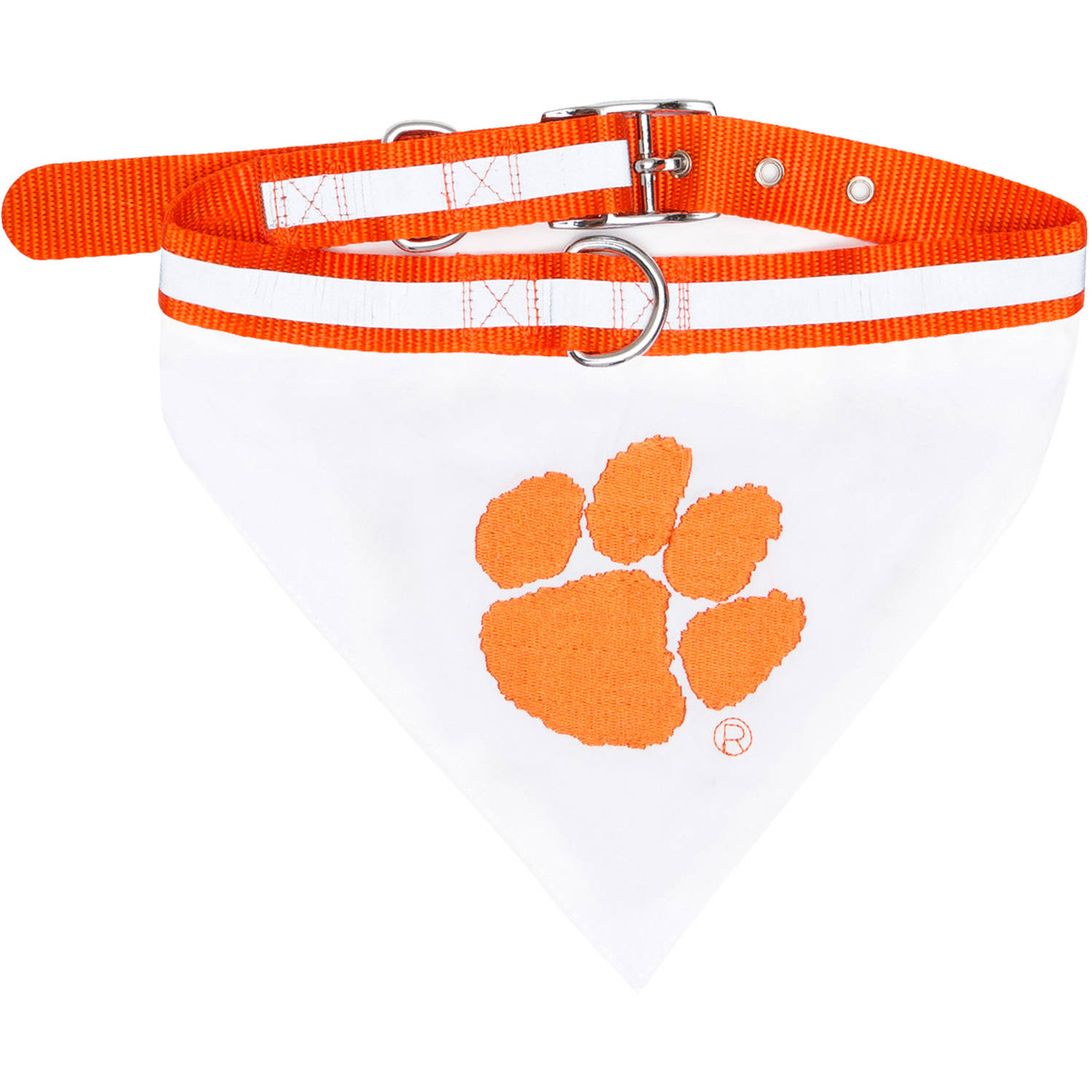 Pets First College Clemson Tigers Pet Bandana, 3 Sizes Available. With Collar