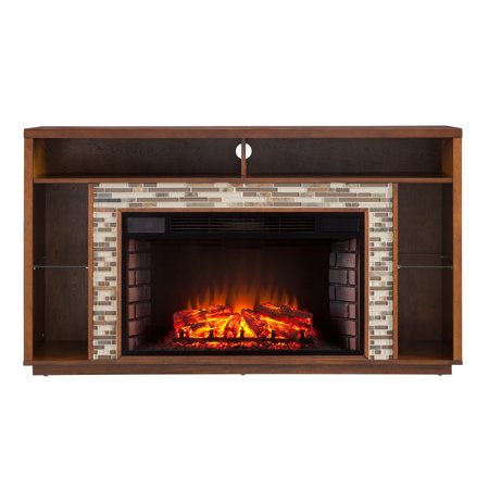Coleman Glass Tiled TV Stand Fireplace Transitional Whiskey Maple