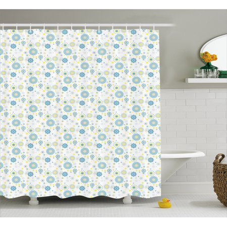 Yellow And Blue Shower Curtain Spring Nature Inspired Pattern Flower Figures Scrapbook Style Fabric