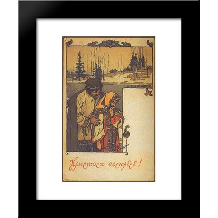 (Postcard Happy Easter 20x24 Framed Art Print by Ivan Bilibin)