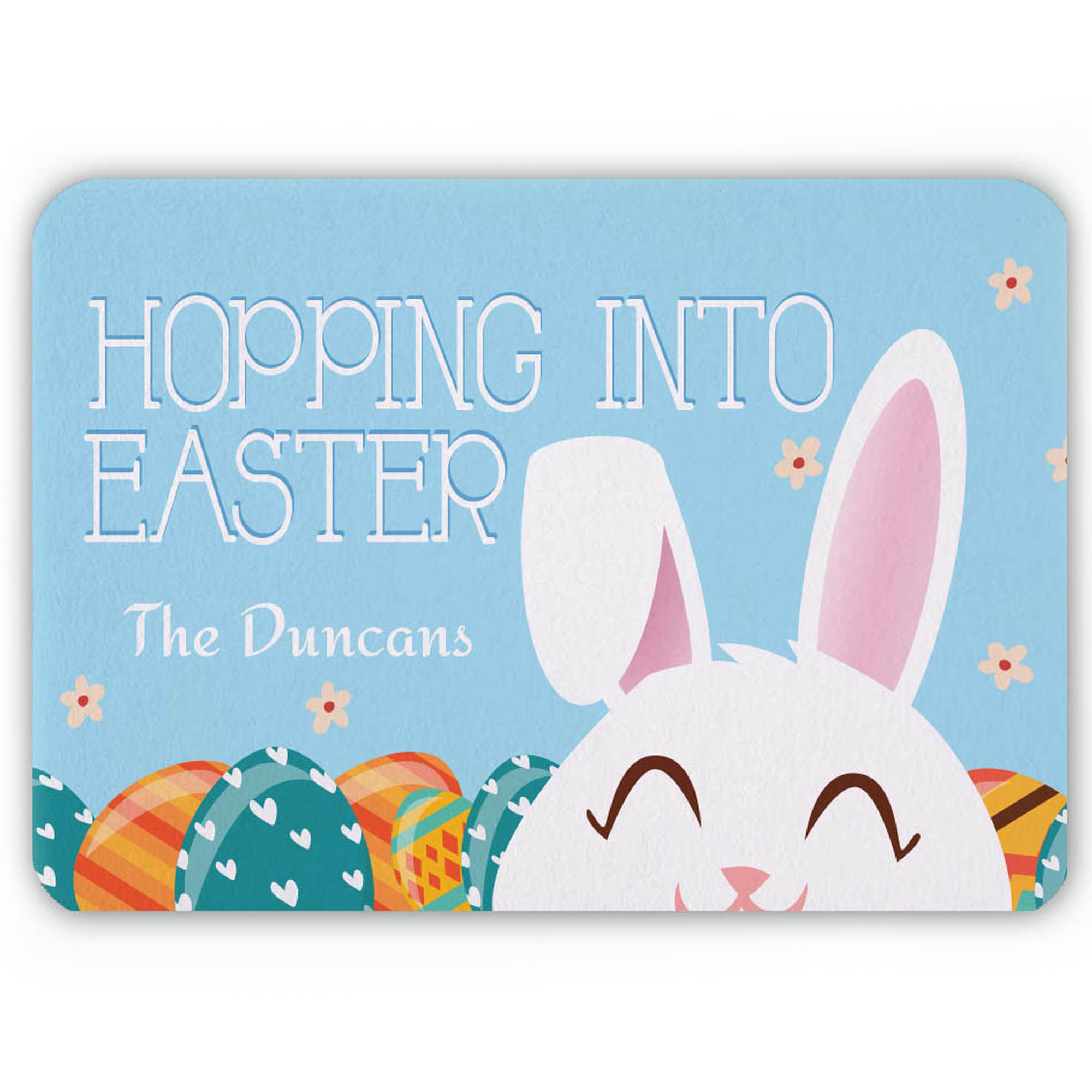 "Hopping Into Easter Personalized Floor Mat , 26.5"" x 17.5"""
