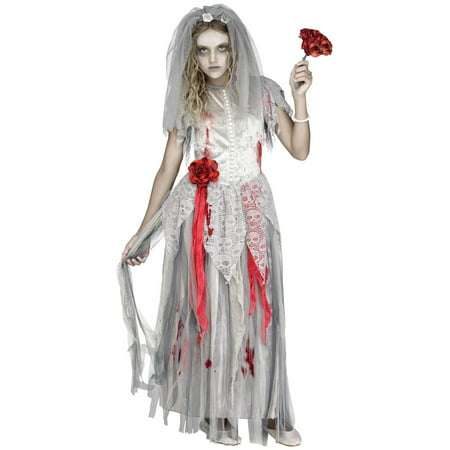 Girls Zombie Bride Costume - Halloween Face Paint Zombie Bride