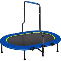 Kids Trampoline with Handle and Safety Cover, Folding Rebounder Trampoline for 2 Person, Small Oval Fitness Trampoline for Kids Toddler, Parent-Kids Trampoline for Indoor Outdoor Workout, B1057
