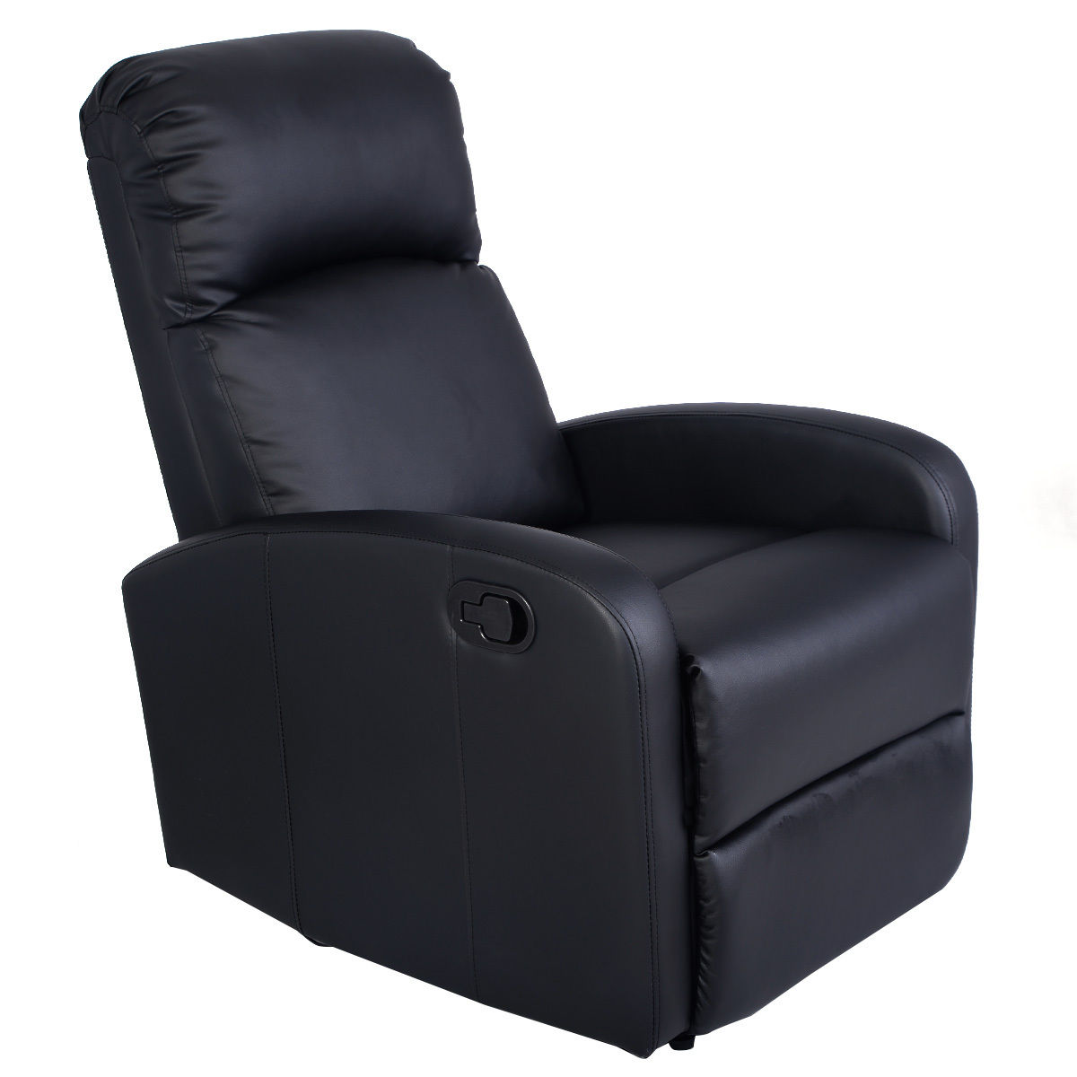 Costway Manual Recliner Chair Black Lounger Leather Sofa Seat Home