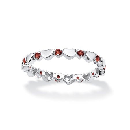 Hearts Stackable (Birthstone Interlocking Stackable Eternity Heart Ring in .925 Sterling Silver - January- Simulated)