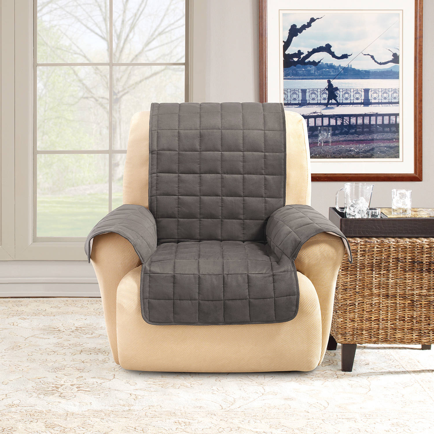 Charmant Sure Fit Ultimate Waterproof Quilted Pet Recliner Cover   Walmart.com