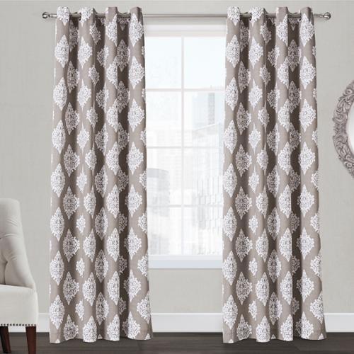 ATI Home  Damask Grommet Top Curtain Panel Pair