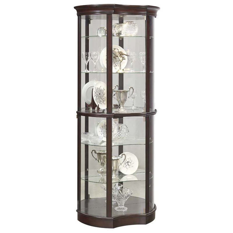Pulaski Concave Front Mirrored Curio Cabinet in Sable Brown