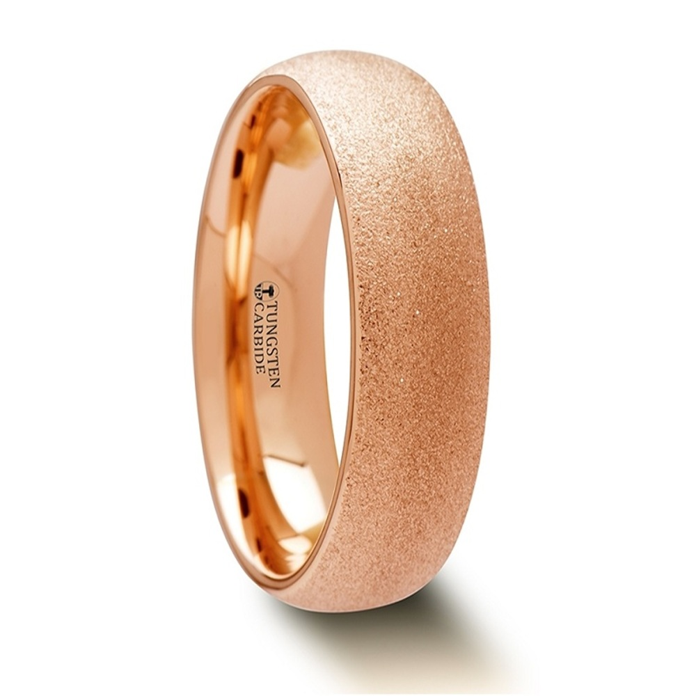 Details about  /8mm Mens Tungsten Carbide Rose Gold Plated Classic Domed  Engagement Band Ring