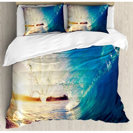 Ocean Duvet Cover Set, Sunrise on Waves Surfer Perspective Surreal Coastal Charm Sports Lifestyle Scene, Decorative Bedding Set with Pillow Shams, Blue Pale Mauve, by Ambesonne ()