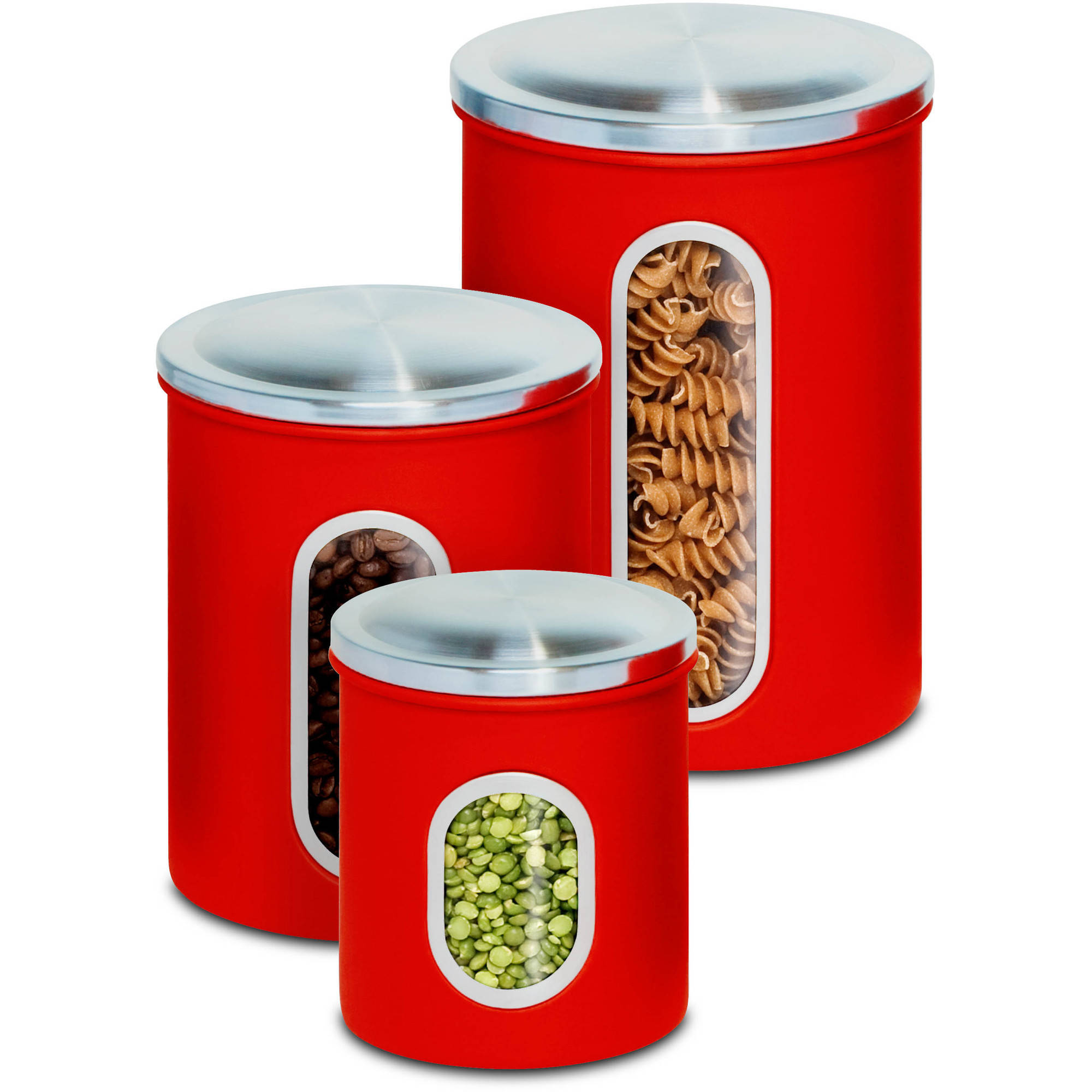 red kitchen canister sets honey can do 3 piece nested metal food storage canister set