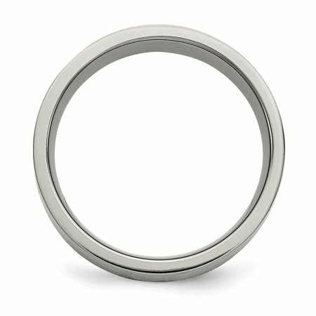 Titanium Flat 8mm 925 Sterling Silver Inlay Brushed Wedding Ring Band Size 9.00 Jewelry & Watches