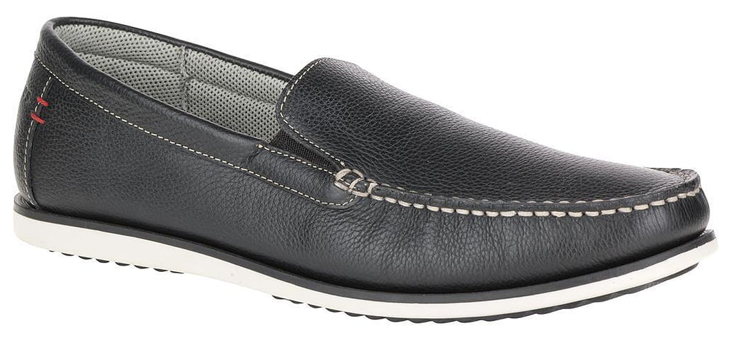 Hush Puppies Bob Portland Mens Black Leather Loafers by Hush Puppies