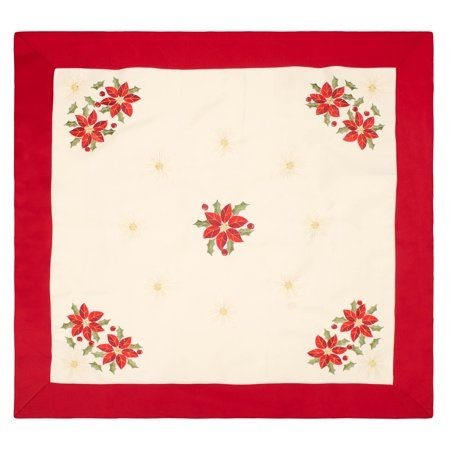 Holiday Poinsettia Embroidered Square 36 X 36 In  Table Topper With Red Trim Border