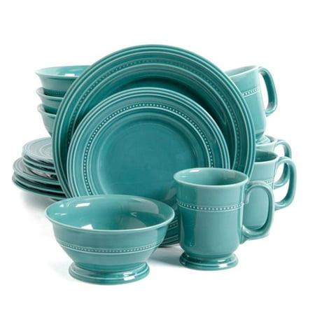 16 Piece Barberware Dinnerware Set, Turquoise - Turquoise Dish Set