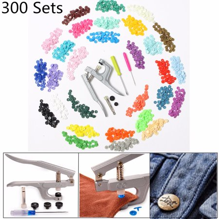 300pcs Snap 30-Color Starter Pack Snaps Press Pliers Plastic Snap-On Buttons Fasteners Installation Punch Poppers Attachment Setting Tool For Bibs - Full Color Button