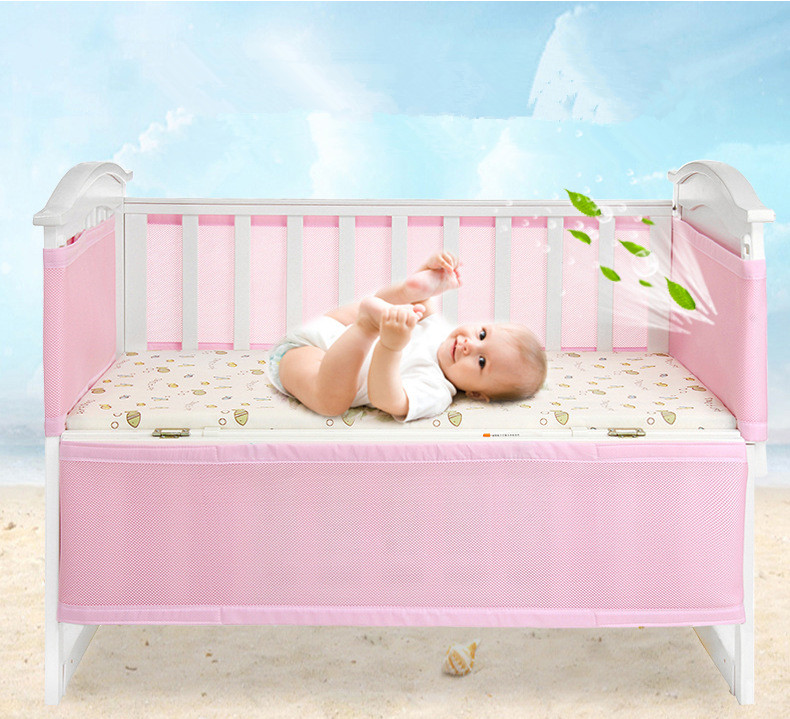 Yosoo Breathable Baby Crib Bumper Pads for Baby Girls Nursery Bedding, Machine Washable Padded Crib Liner, 4-Piece Safe Bumper Guards Set