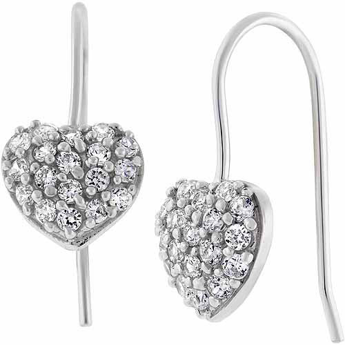 "CZ Sterling Silver Pave Heart 3/4"" Drop Earrings"