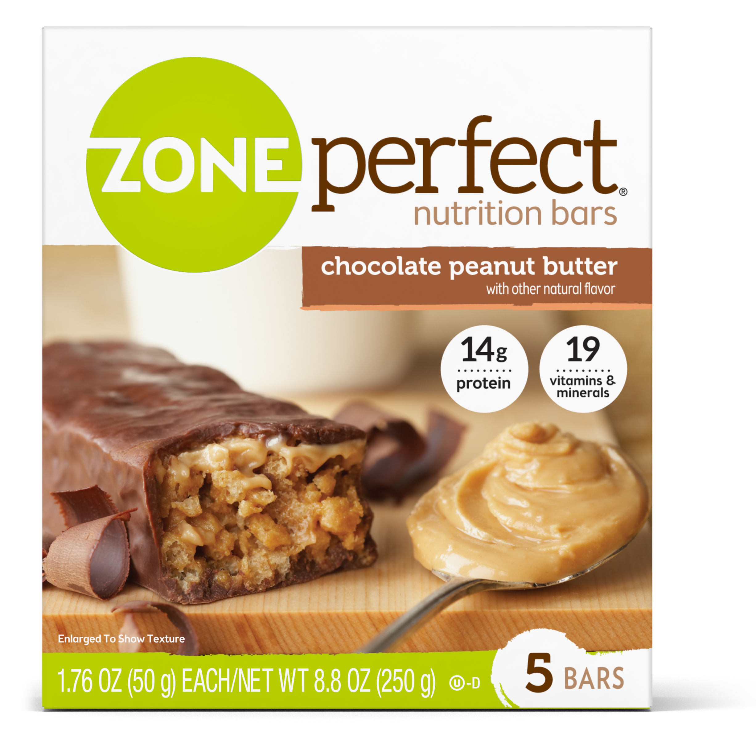 ZonePerfect Nutrition Bar, Chocolate Peanut Butter, 14g Protein, 5 Ct