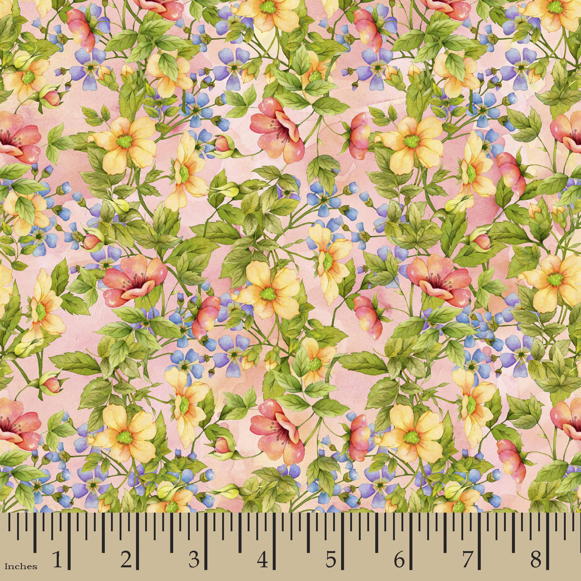 "Blessed Sanctum Floral Garden Fabric by the Yard, Pink, 43/44"" Width"