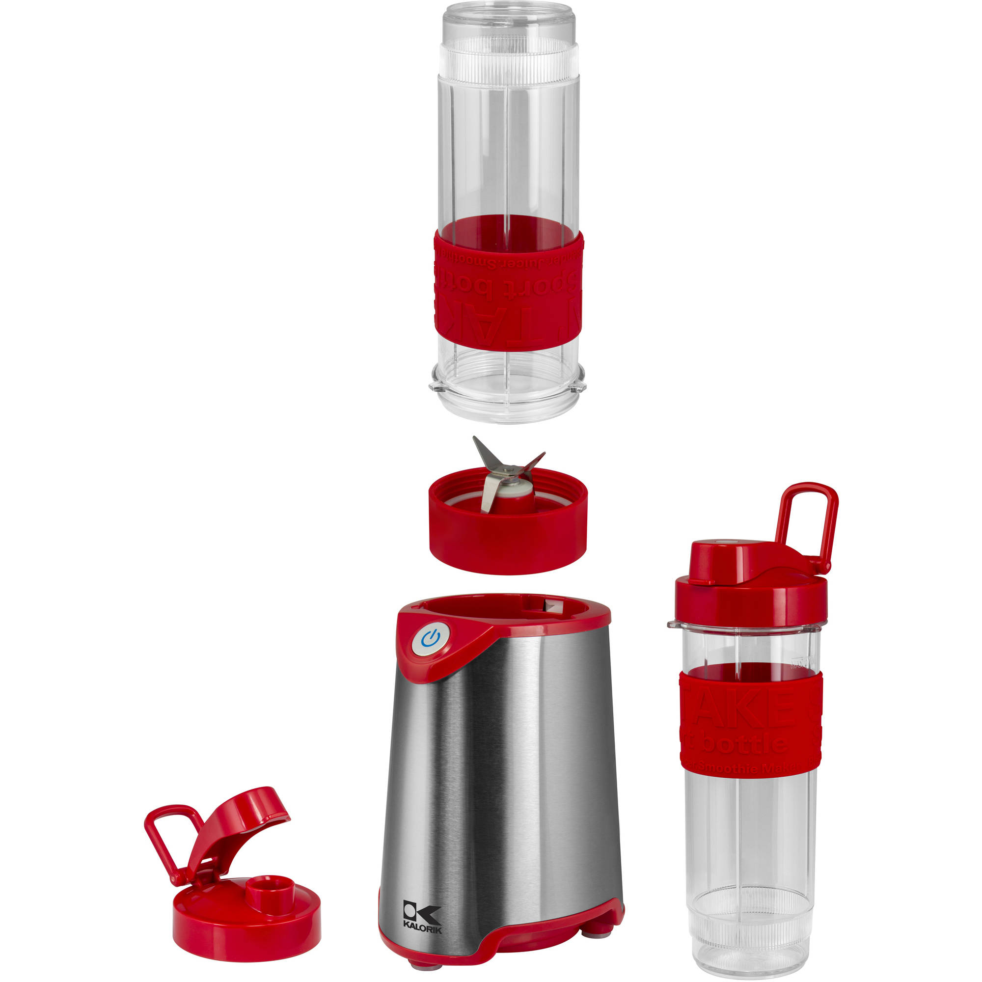 Kalorik Personal Professional Blender, Single Serve BPA-Free Sport Bottle Blender, Red