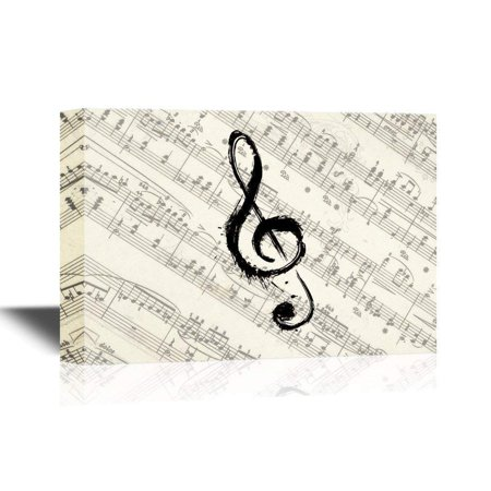 wall26 - Canvas Wall Art - Music Note on Vintage Musical Score Paper - Gallery Wrap Modern Home Decor | Ready to Hang - 12x18 inches](Musical Decor)