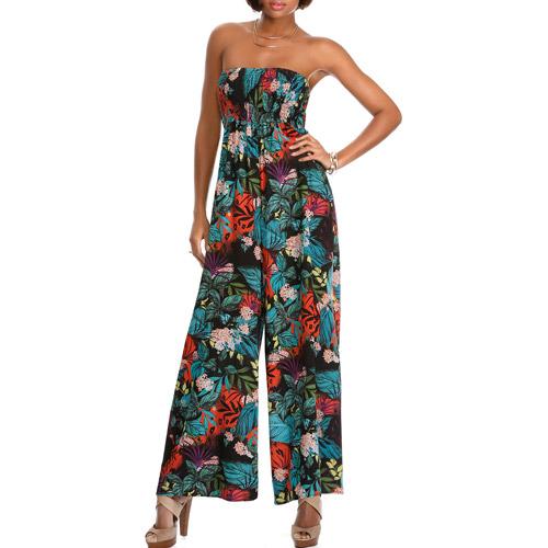 Miss Tina Women's Smocked Wide-Leg Jumpsuit