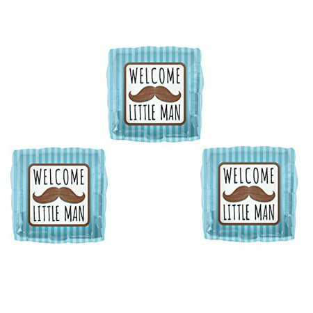 Set of 3 WELCOME LITTLE MAN MUSTACHE BABY SHOWER Balloons Decorations Supplies (Little Man Baby Shower Decorations)