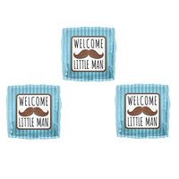 Set of 3 WELCOME LITTLE MAN MUSTACHE BABY SHOWER Balloons Decorations Supplies