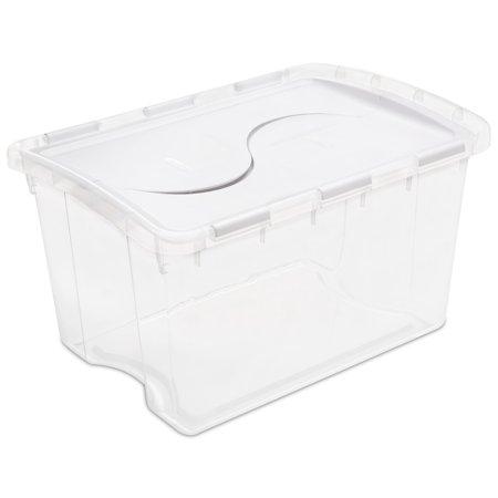 Sterilite 48 Qt  45 L Hinged Lid Storage Box  White