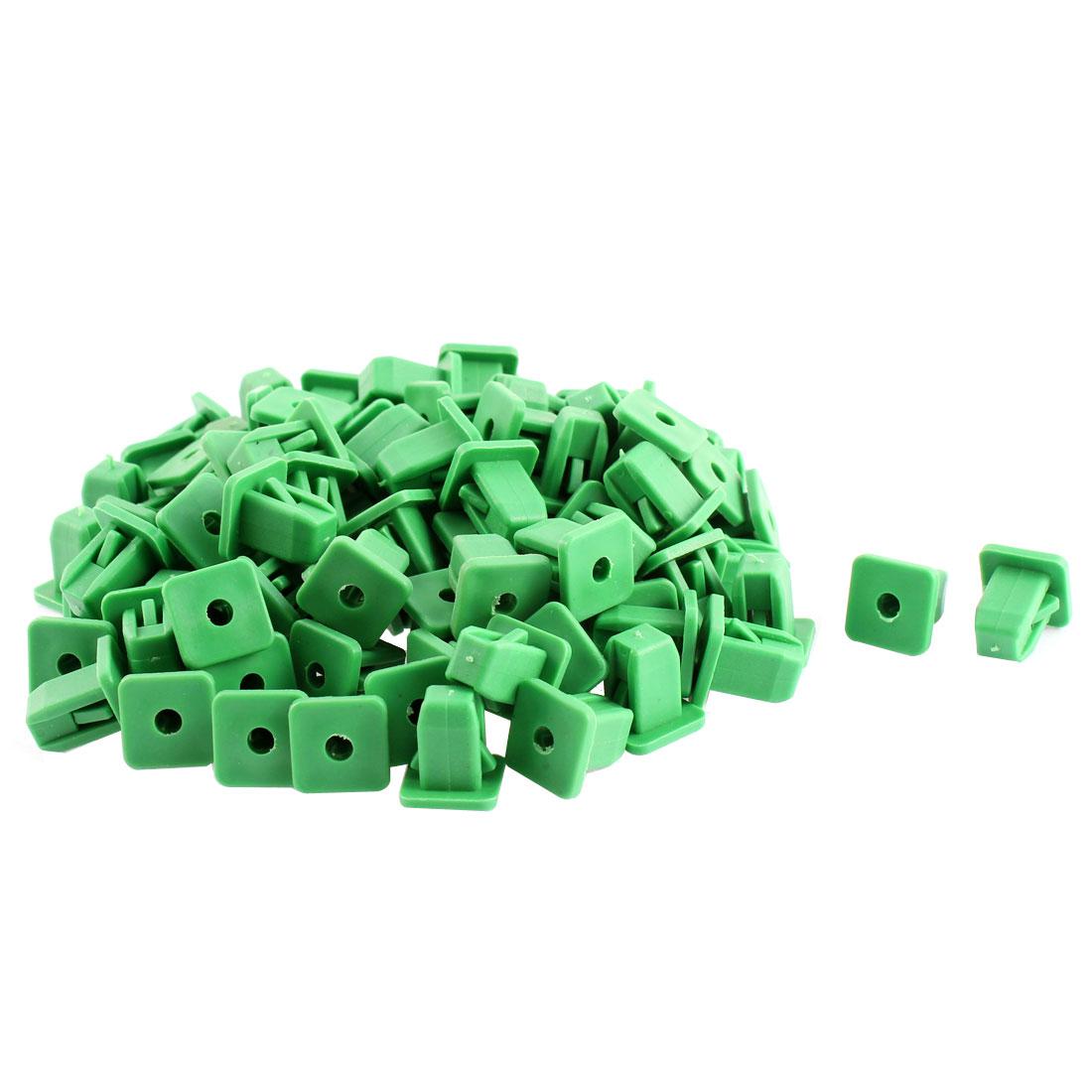 Unique Bargains 100Pcs Green Plastic Fastener Rivet Clips 14mm x 14mm Head
