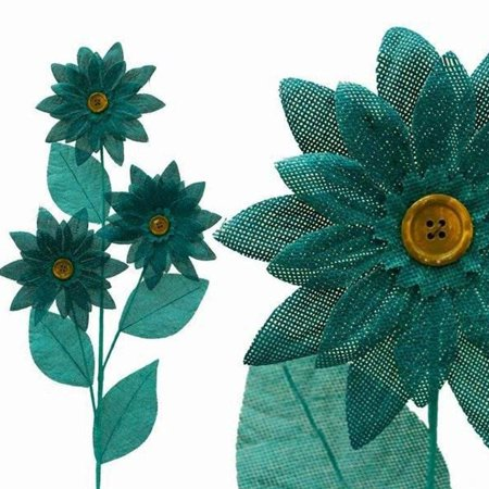 15 Burlap Daisies Flowers Wedding Home Bouquet Vase Centerpiece - Turquoise (Burlap Centerpieces)