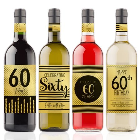 Gold Foil 60th Birthday Wine Labels, 4ct - Black and Gold Stripe and Polka Dot Birthday Party Supplies - 4 Wine Bottle Stickers with Gift Tags - Wine Bottle Covers Halloween