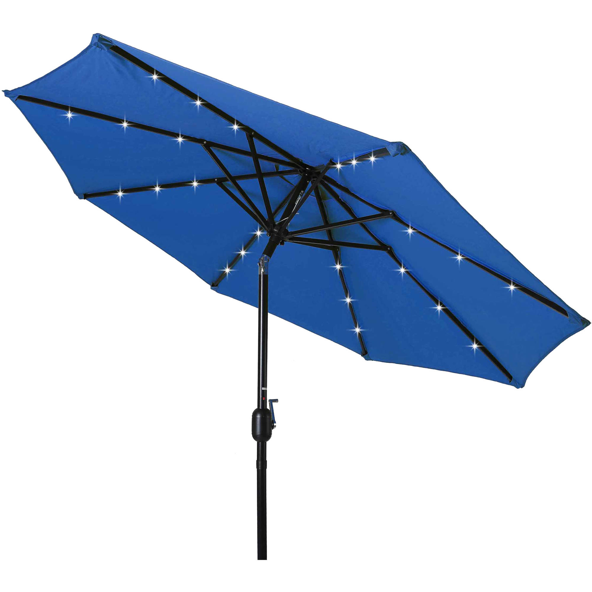 Deluxe Solar Powered LED Lighted Patio Umbrella, 8u0027, By Trademark  Innovations