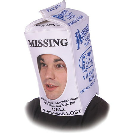 Milk Carton Hat Adult Halloween Accessory (Milk Bottle Costume)