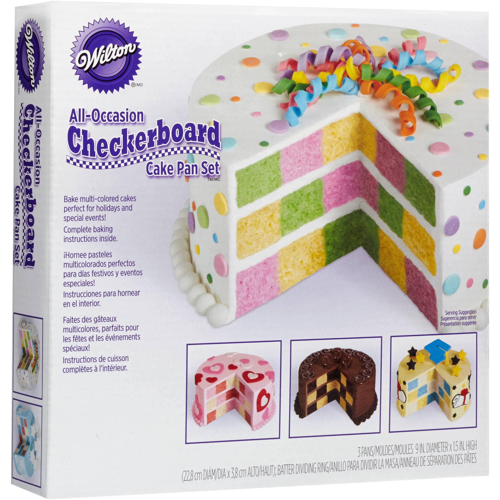 Wilton Round Checkerboard Cake Pan Set 4 Piece Walmart Com Walmart Com