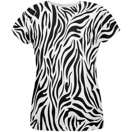 - Zebra Print White All Over Womens T-Shirt