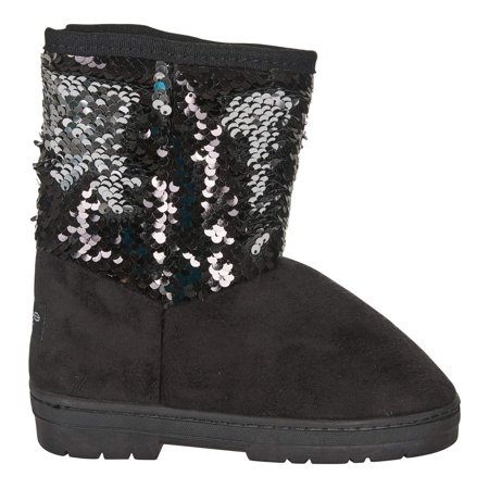 bebe Girls Winter Boots Size 2 with Reversible Sequins Casual Shoes Blush/Silver