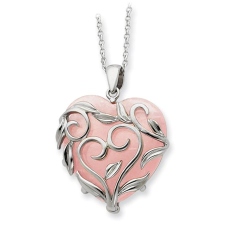 Discount Heart - Sterling Silver & Rose Quartz Generous Heart 18in Necklace