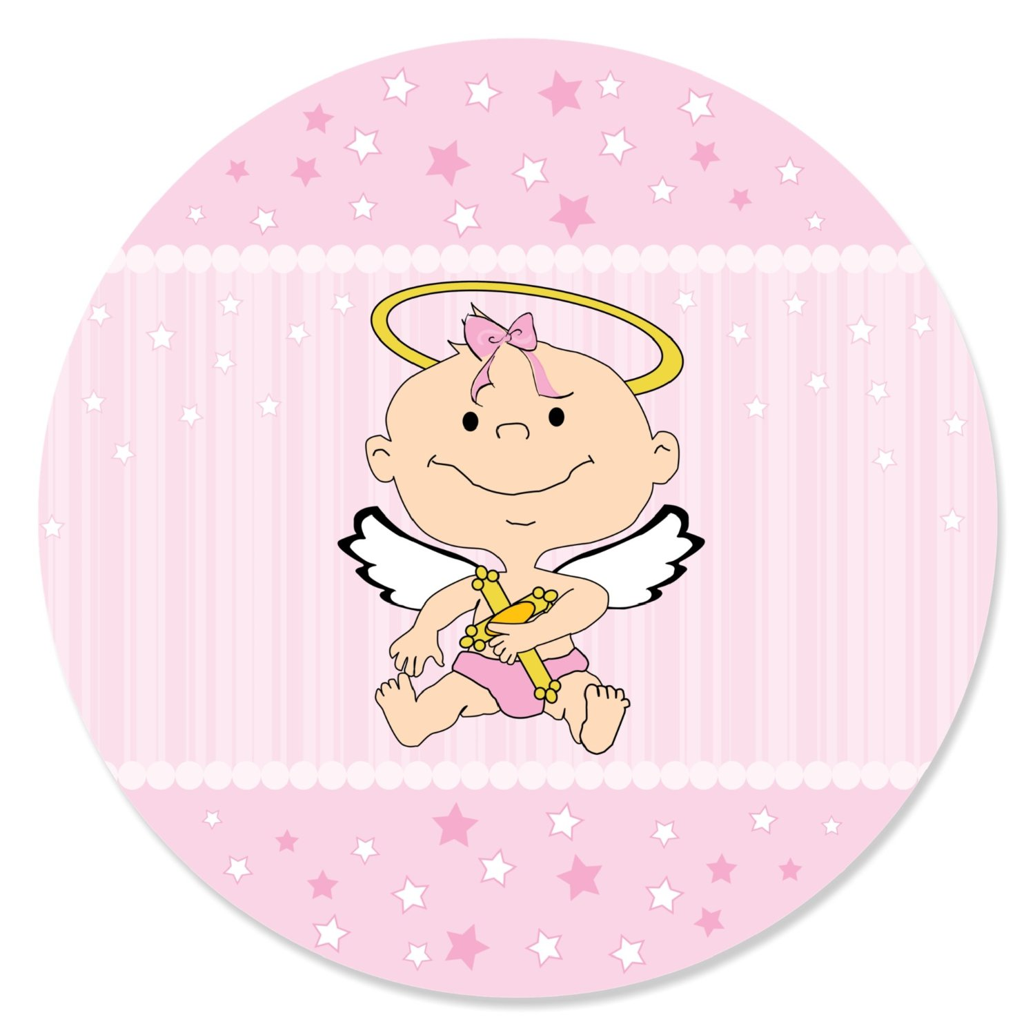 Angel Baby Girl - Baptism Party Circle Sticker Labels - 24 Count