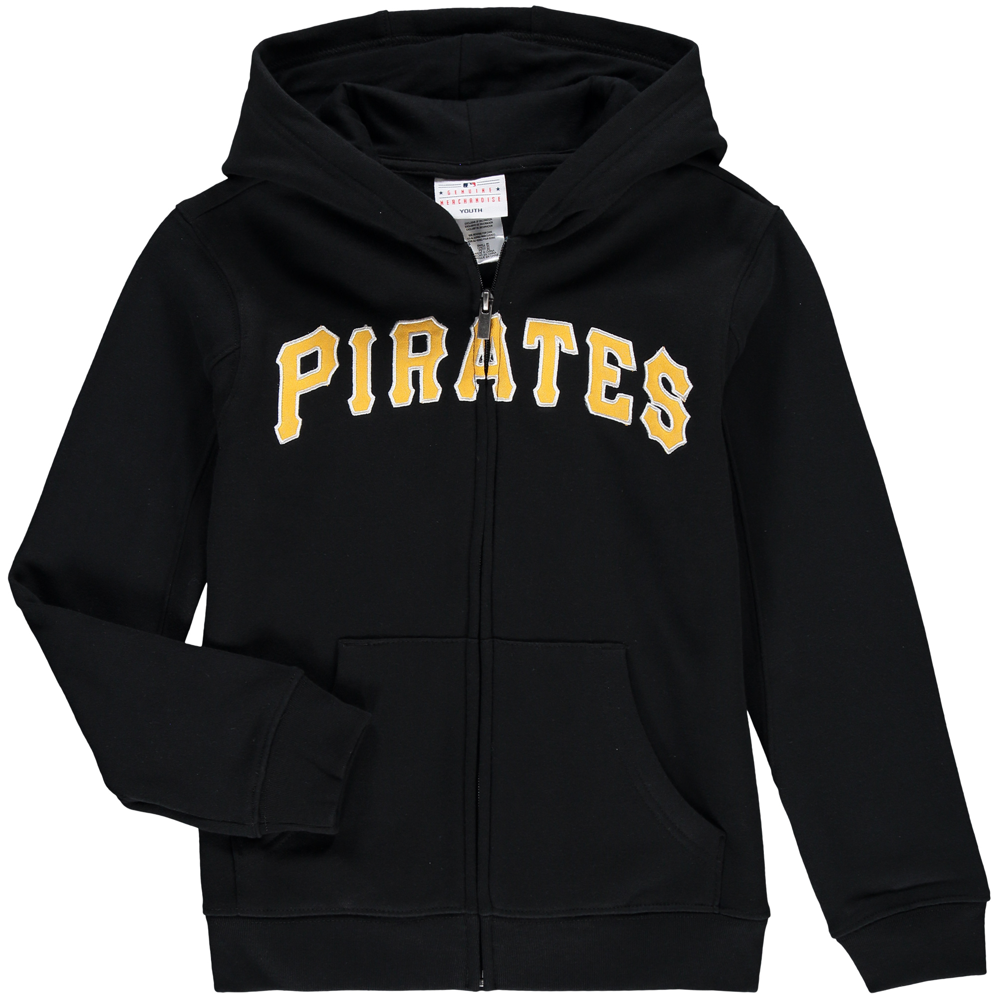 Pittsburgh Pirates Youth Wordmark Full-Zip Hoodie - Black