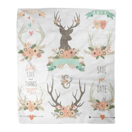 ASHLEIGH Flannel Throw Blanket Deer Vintage Floral Antlers Collections Flower Wedding Collage Wreath Soft for Bed Sofa and Couch 50x60 Inches