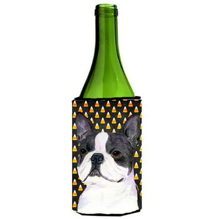 Boston Terrier Halloween Portrait Wine Bottle  Hugger - 24 oz. (Boston Terrier Halloween Pumpkin)