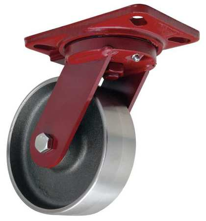 HAMILTON Plate Caster,Swivel,Forged Stl,6 in,6000 lb, S-HS-6FSB-4SL-FB