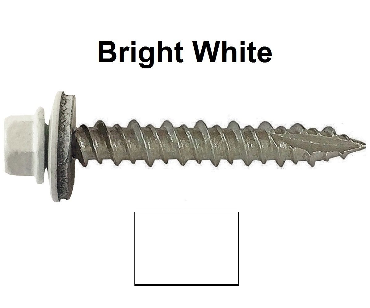 #10 Metal Roofing Screws: Colored Head for Corrugated Roofing Screws x 2-1//2 Brite White Hex Washer Head Sheet Metal Roof Screw Self Starting//Tapping EPDM Washer 250