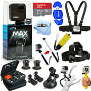 GoPro MAX 360 Action Camera All In 1 PRO ACCESSORY KIT with SanDisk 64GB, Chest and Head Strap, Monopod/Selfie Stick, Medium Case, Tripod and Much More